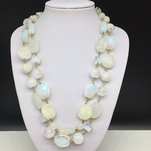 NEW Talbots White Iridescent Glass Beaded Necklace